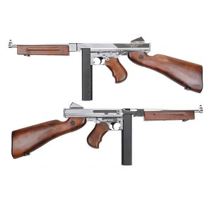 King Arms Thompson M1A1 Military Grand Special- Chrome Silver Version - KA-AG-66-SV Airsoft Toys Gun