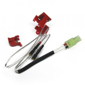 King Arms Silver Cords & Switches Set for Ver.2 Gearbox (Rear Wiring) - KA-BAT-33 for Airsoft Gun