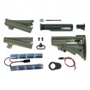 King Arms Carbine MOD Stock - OD w/ 1400mAh-9.6V Battery - KA-STOCK-04-OD-96 for Airsoft Gun